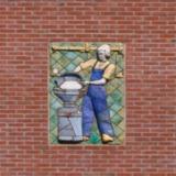 Tableau met arbeider zuivelfabriek
