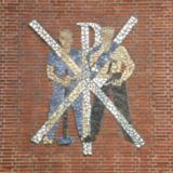 Mozaïek met Pax Christi symbool