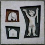 Gevelstenen met jongetje, olifant en huis (7 exemplaren)